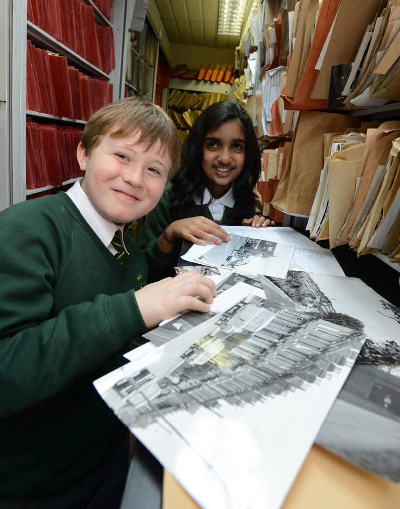 Woodfield junior school pupils Cameron McGregor, 9, and Eleanor Dosanjh, 10, during a 2013 visit to the Express & Star photo archive, Wolverhampton